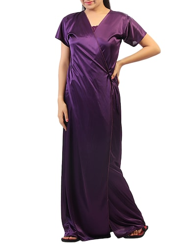 purple solid robe with nighty - 15023775 - Standard Image - 1