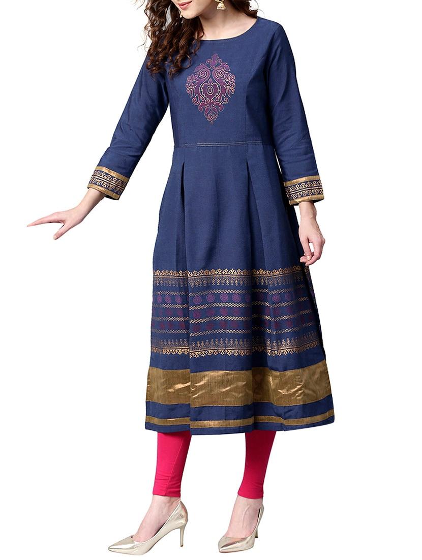 blue cotton a line kurta