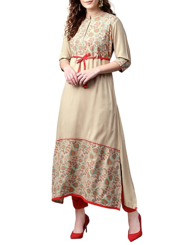 brown cotton aline kurta - 15023861 - Standard Image - 1