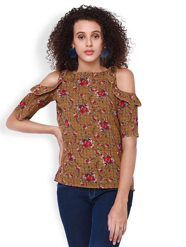 8eac982f8d351 Buy Floral Cold Shoulder Boat Neck Top for Women from Tokyo Talkies ...