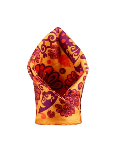 orange polyester pocketsquare - 15024015 - Standard Image - 1