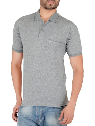 grey cotton pocket t-shirt - 15024346 - Standard Image - 1
