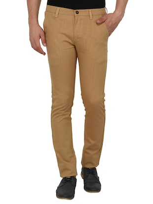 brown cotton blend chinos - 15024915 - Standard Image - 1