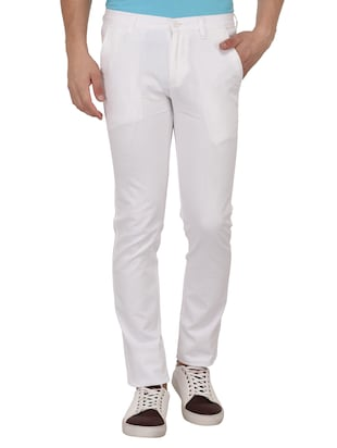 white cotton blend chinos - 15024916 - Standard Image - 1