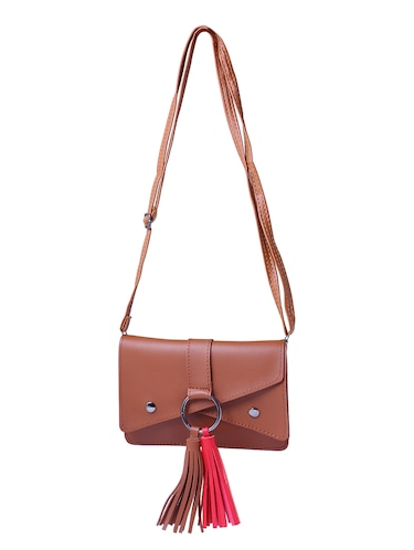 brown leatherette  regular sling bag - 15025082 - Standard Image - 1