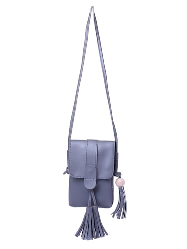 grey leatherette  regular sling bag - 15025087 - Standard Image - 1