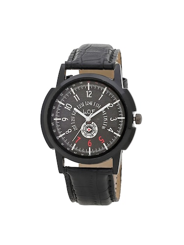 LOF Black Round Dial Leather Strap Men's Analog watch  - LW1004 - 15025094 - Standard Image - 1