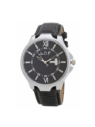 LOF BlackRound Dial Leather Strap Men's Multi function Analog watch - LW2002 - 15025095 - Standard Image - 1