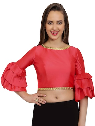 pink solid stitched blouse - 15025171 - Standard Image - 1