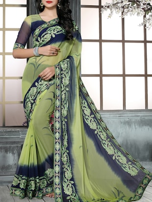 green chiffon embroidered saree with blouse - 15025207 - Standard Image - 1