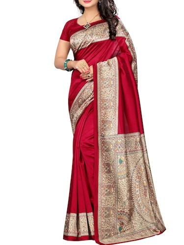 red art silk printed saree with blouse - 15025504 - Standard Image - 1