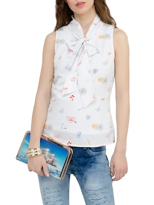 white crepe printed top - 15025554 - Standard Image - 1