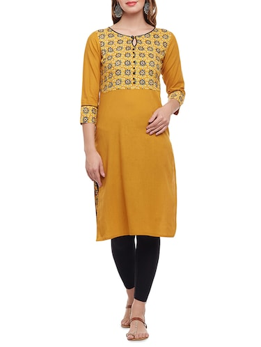 yellow cotton straight kurta - 15025560 - Standard Image - 1