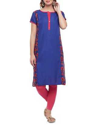 blue cotton straight kurta - 15025568 - Standard Image - 1