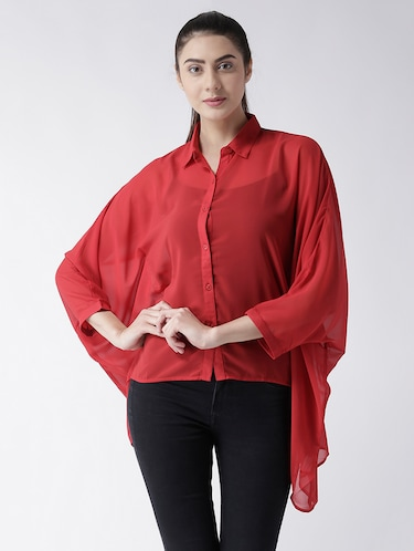 solid red georgette shirt - 15026141 - Standard Image - 1