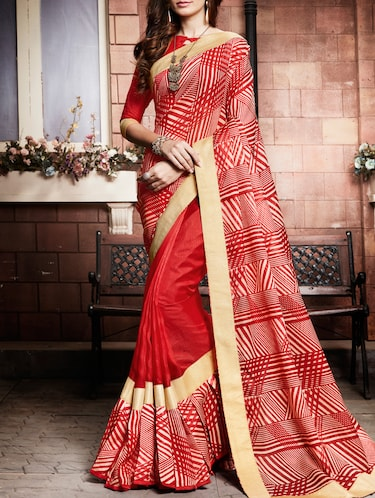 Geometrical printed saree with blouse - 15026152 - Standard Image - 1