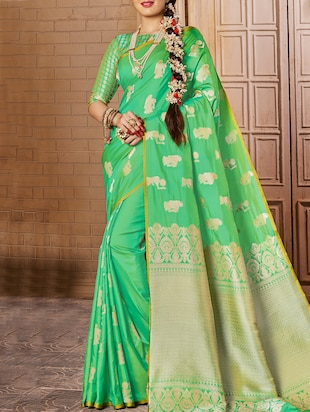 green woven saree with blouse - 15026167 - Standard Image - 1