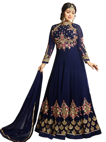 Embroidered semi-stitched anarkali suit - 15026198 - Standard Image - 1