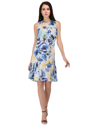light blue floral drop waist dress - 15026739 - Standard Image - 1