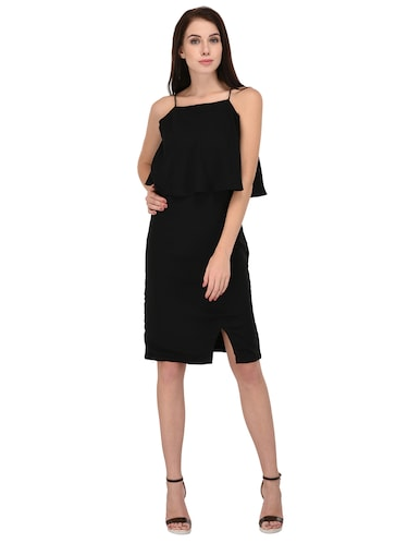 black solid layered dress - 15026744 - Standard Image - 1