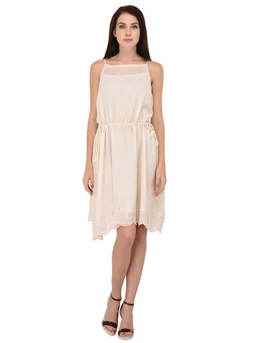 cream solid blouson dress - 15026746 - Standard Image - 1
