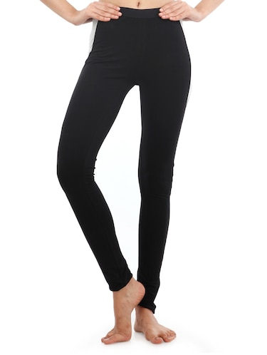 black solid cotton leggings - 15027002 - Standard Image - 1