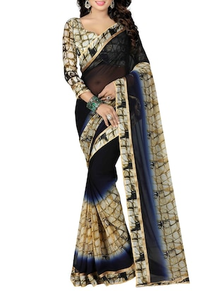 blue georgette printed saree with blouse - 15027351 - Standard Image - 1