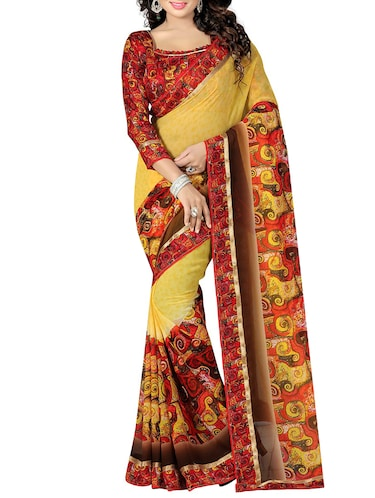 mustard georgette printed saree with blouse - 15027352 - Standard Image - 1