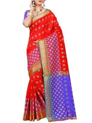 red silk blend woven saree with blouse - 15027501 - Standard Image - 1