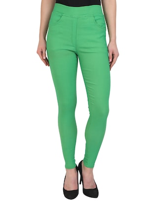 green cotton lycra jeggings - 15027531 - Standard Image - 1