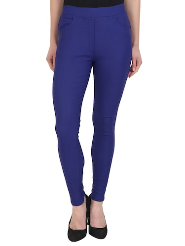 blue cotton lycra jeggings - 15027542 - Standard Image - 1