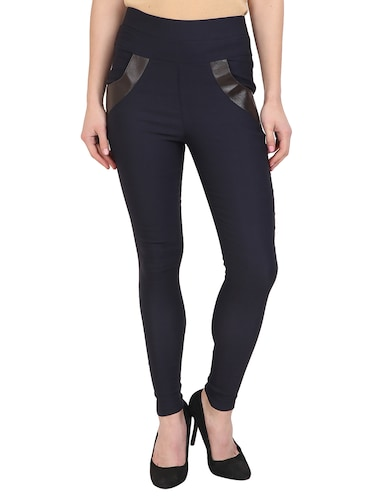 navy blue cotton lycra jegging - 15027548 - Standard Image - 1