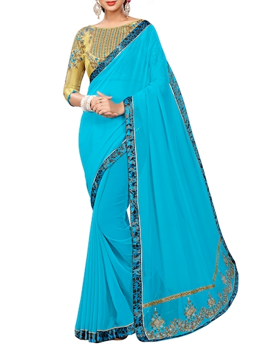 sky blue georgette bordered saree with blouse - 15027586 - Standard Image - 1