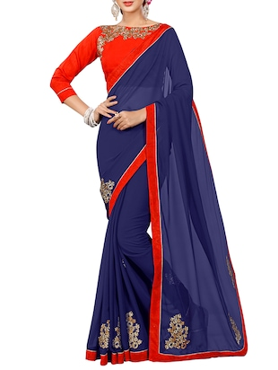 blue georgette embroidered saree with blouse - 15027587 - Standard Image - 1