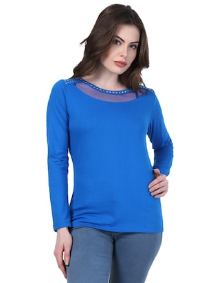 blue solid full sleeved top - 15027673 - Standard Image - 1