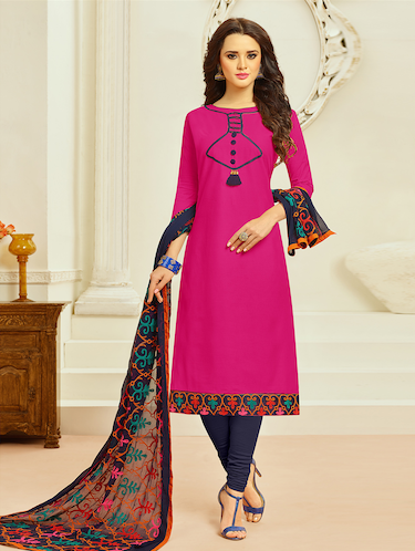 embroidered unstitched churidaar suit - 15027966 - Standard Image - 1