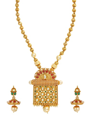 golden colored brass necklace & earrings set - 15028077 - Standard Image - 1