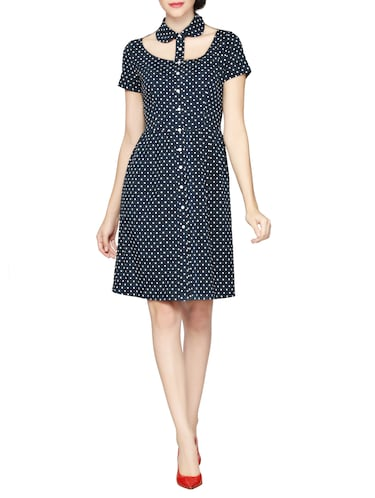 JANE ROCHELLE dark blue poly crepe a-line dress - 15028258 - Standard Image - 1