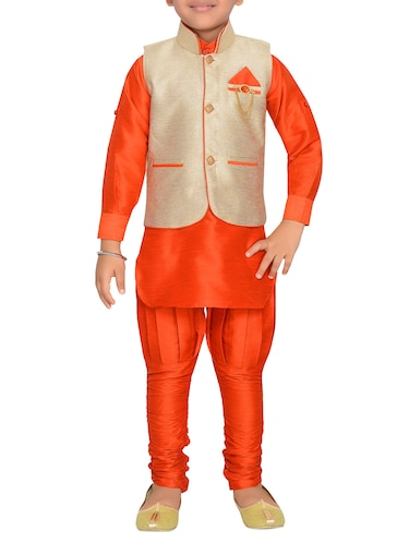 orange silk blend kurta pyjama set with nehru jacket - 15028270 - Standard Image - 1
