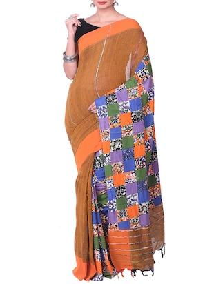 orange cotton tant saree - 15028576 - Standard Image - 1