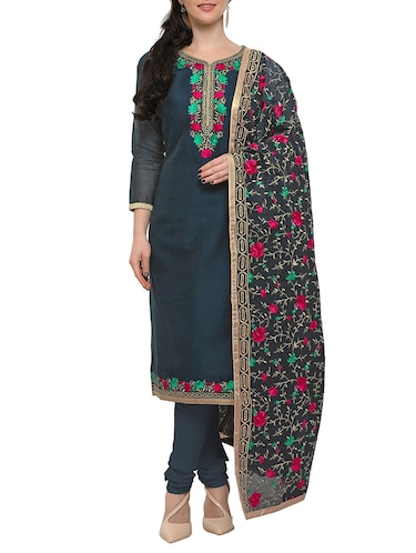 grey embroidered unstitched suit - 15029083 - Standard Image - 1