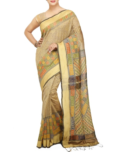 Floral handloom saree with blouse - 15029216 - Standard Image - 1