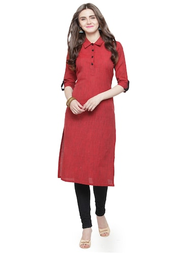 Rose red solid kurta - 15029896 - Standard Image - 1