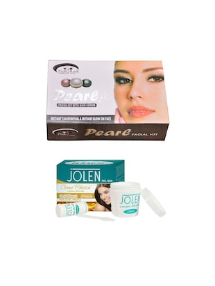 JOLEN Gold Bleach Crme 18g and Pink Root Pearl Facial Kit 83g - 15030029 - Standard Image - 1