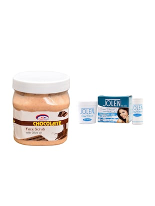 JOLEN Oxy Bleach Crme 35g and Pink Root Chocolate Scrub 500ml - 15030097 - Standard Image - 1