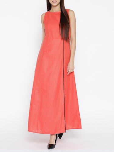 solid pink cotton maxi dress - 15030234 - Standard Image - 1