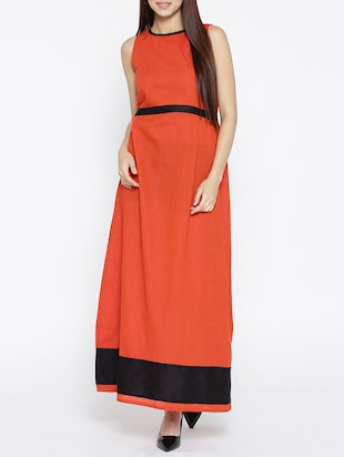 orange printed cotton maxi dress - 15030235 - Standard Image - 1