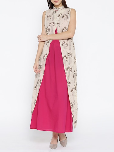 pink cotton maxi dress with shrug - 15030236 - Standard Image - 1