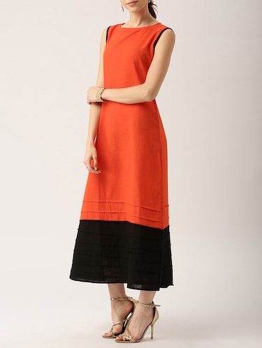 solid orange cotton maxi dress - 15030261 - Standard Image - 1