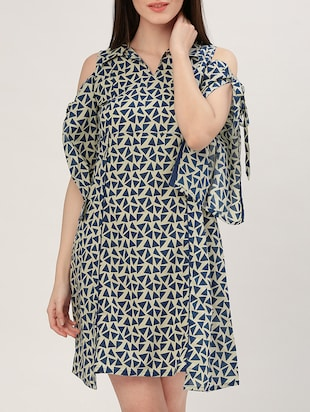 blue printed cotton a-line dress - 15030280 - Standard Image - 1